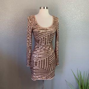 2B Bebe sequin rose gold Mini Dress Small